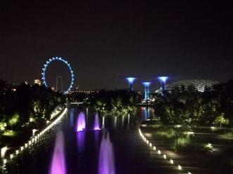 v.l.n.r: Der SIngapore Flyer, die Supertrees und der FLower Dome